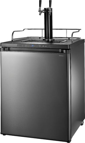 Insignia™ - 5.6 Cu. Ft. Dual Tap Beverage Cooler & Kegerator - Black stainless steel