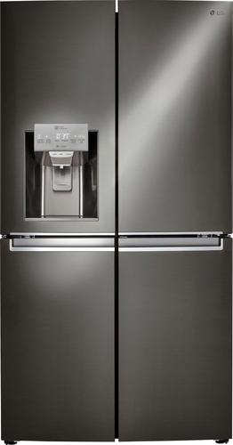 LG LNXC23766D - Refrigerator/freezer - freestanding - width: 35.9 in - depth: 29.9 in - height: 70.5 in - 22.7 cu. ft - side-by-side with ice & water dispenser - black stainless steel