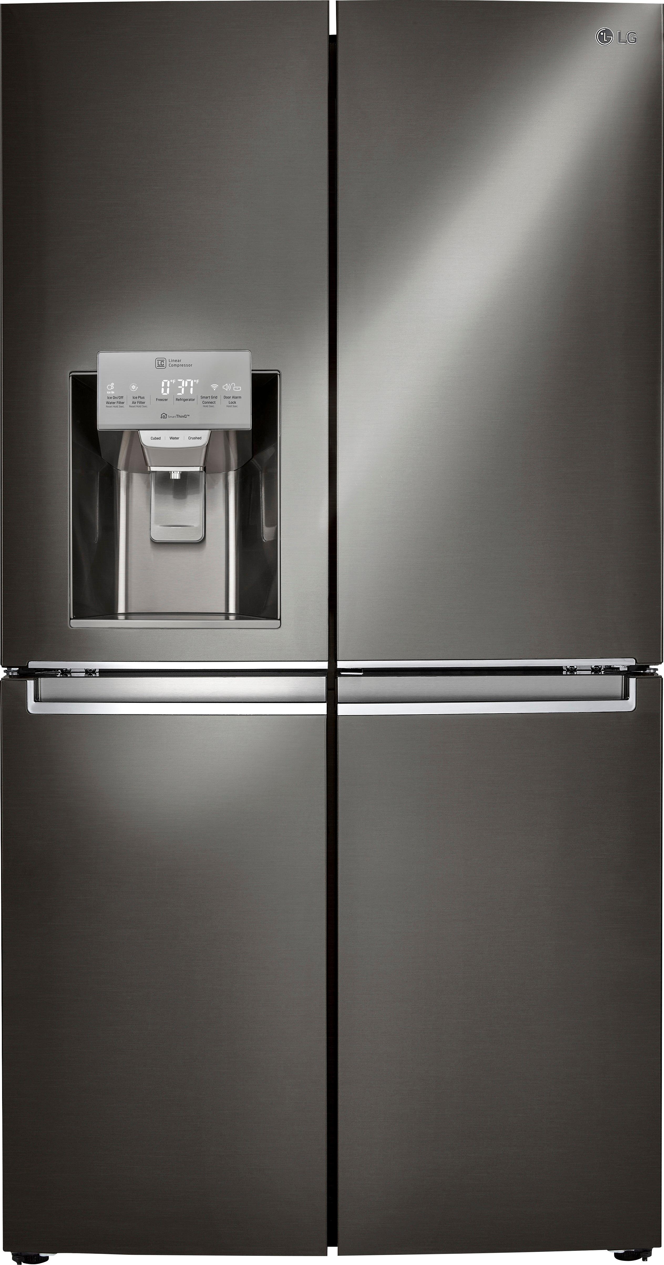 LG - 22.7 Cu. Ft. 4-Door French Door-in-Door Counter-Depth Smart Wi-Fi Enabled Refrigerator - Black stainless steel largeFrontImage