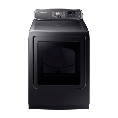 Samsung - 7.4 Cu. Ft. Extra-Large Capacity Electric Dryer with Steam - Black stainless steel