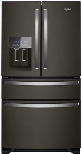 Whirlpool WRX735SDHV - Refrigerator/freezer - freestanding - width: 35.6 in - depth: 34.6 in - height: 70.1 in - 24.5 cu. ft - french style with ice & water dispenser - black stainless