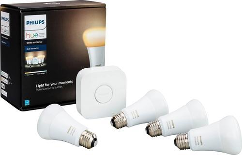 Philips - Hue White Ambiance A19 LED Starter Kit - Adjustable White