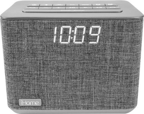 Ihome Fm Dual Alarm Clock Radio Gray Larger Front