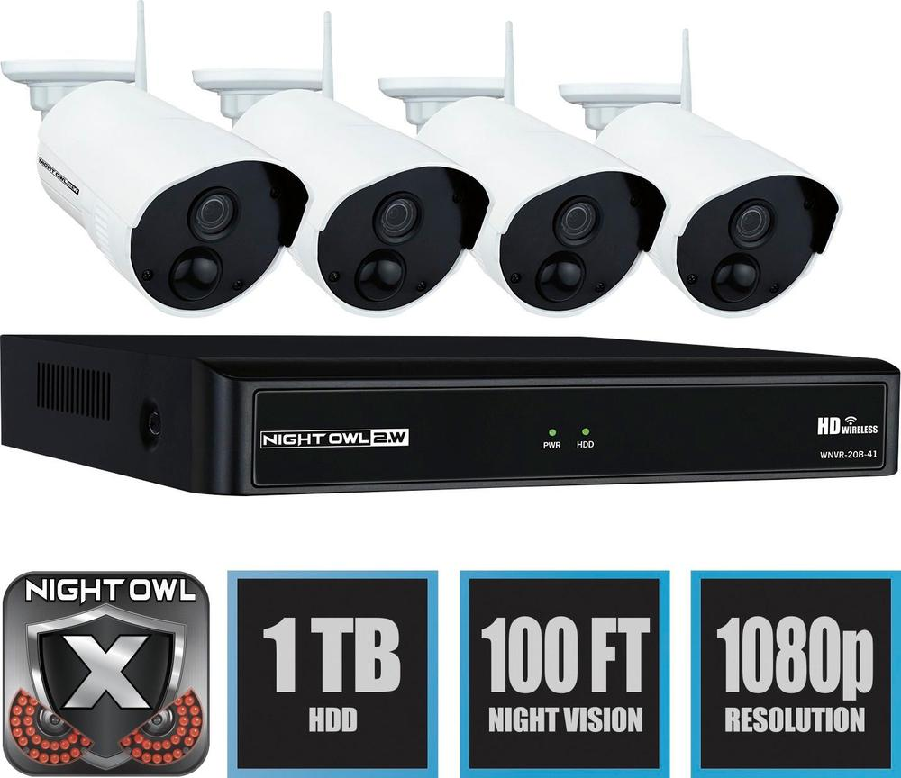 Night Owl WNVR201-44P 4-Channel, 4-Camera Indoor/Outdoor Wireless 1080p Surveillance System