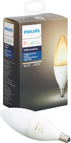 Philips - Hue White Ambiance E12 Wi-Fi Smart LED Decorative Candle Bulb - White