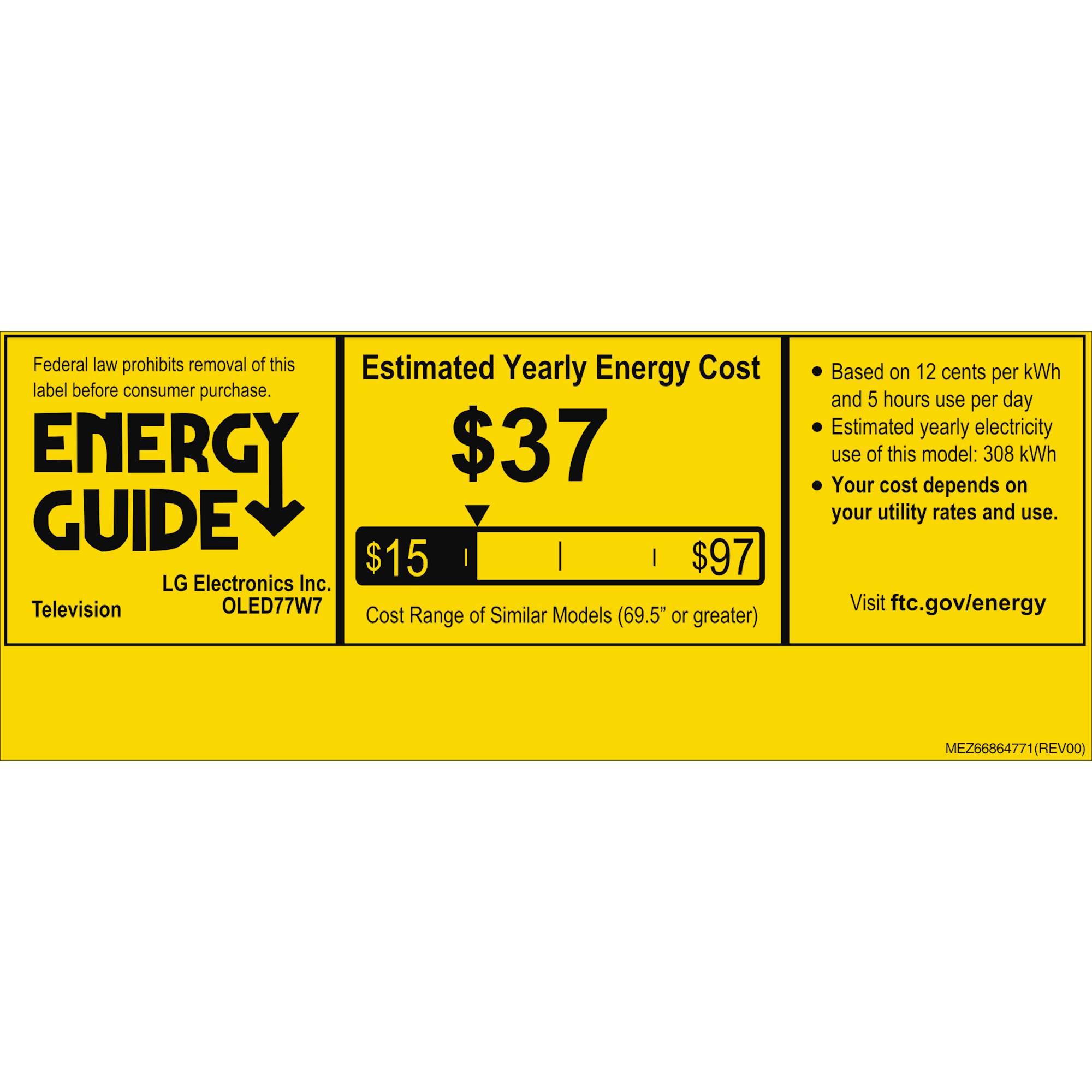 LG OLED77W7P energyGuideImage