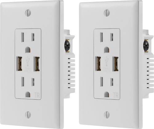 Dynex™ - 2.4A USB Wall Outlet (2-Pack) - White
