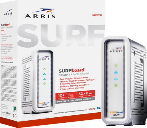 ARRIS - SURFboard 32 x 8 DOCSIS 3.1 Cable Modem - White DOCSIS 3.1 cable modemUp to 10 Gbps downstream and up to 1 Gbps upstream network capacityWorks with Cox, Xfinity and other U.S. cable internet providers2 Gigabit Ethernet ports