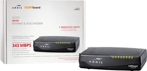 ARRIS - SURFboard 8 x 4 DOCSIS 3.0 Voice Cable Modem - Black DOCSIS 3.0 cable modemDownload speeds up to 343 MbpsCompatible with XFINITY Voice & Internet Service1 Gigabit Ethernet port