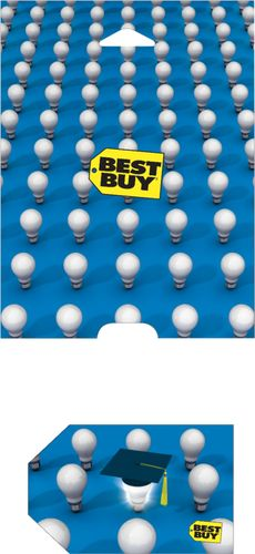 Best Buy GC - $50 Graduation Light Bulb Gift Card Perfect gift card? Piece of cake. All Best Buy gift cards are shipped free and are good toward future purchases online and in U.S. or Puerto Rico Best Buy stores. Best Buy gift cards do not have an expiration date.