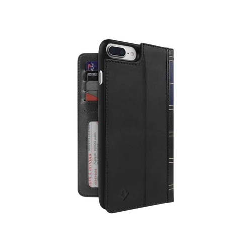 Twelve South BookBook - Flip cover for cell phone - genuine leather - black - for Apple iPhone 7 Plus