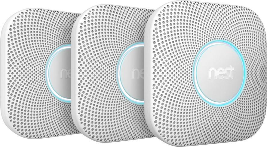 Nest - Protect 2nd Generation (Battery) Smart Smoke/Carbon Monoxide Alarm (3-Pack) - White