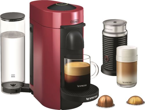 Nespresso - VertuoPlus Coffee Maker and Espresso Machine with Aeroccino Milk Frother by DeLonghi - Cherry Red