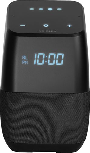 Insignia™ - Voice™ Smart Bluetooth Speaker and Alarm Clock with Google Assistant - Black