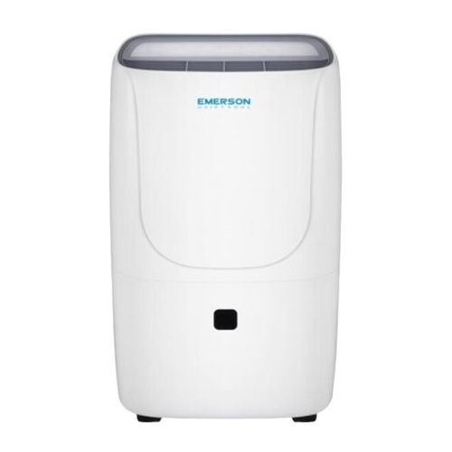 Emerson Quiet Kool - 70-Pint Portable Dehumidifier - White Designed for rooms up to 4499 sq.ft.Includes drain hose connectionEnergy Star CertifiedFull bucket indicator with auto shut-off; child security; water splashing protection; auto shut-off; frost protection; adjustable humidistat