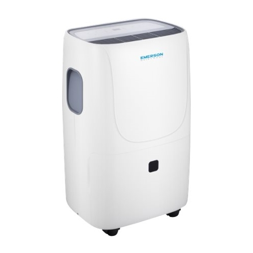 Emerson Quiet Kool - 50.1-Pint Portable Dehumidifier - White Designed for rooms up to 3003 sq.ft.Includes drain hose connectionEnergy Star CertifiedFull bucket indicator with auto shut-off; child security; water splashing protection; auto shut-off; frost protection; adjustable humidistat