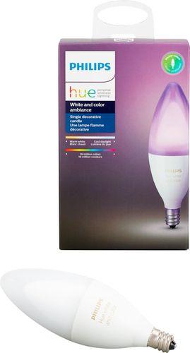 Philips - Hue White and Color Ambiance E12 Wi-Fi Smart LED Decorative Candle Bulb - Multicolor