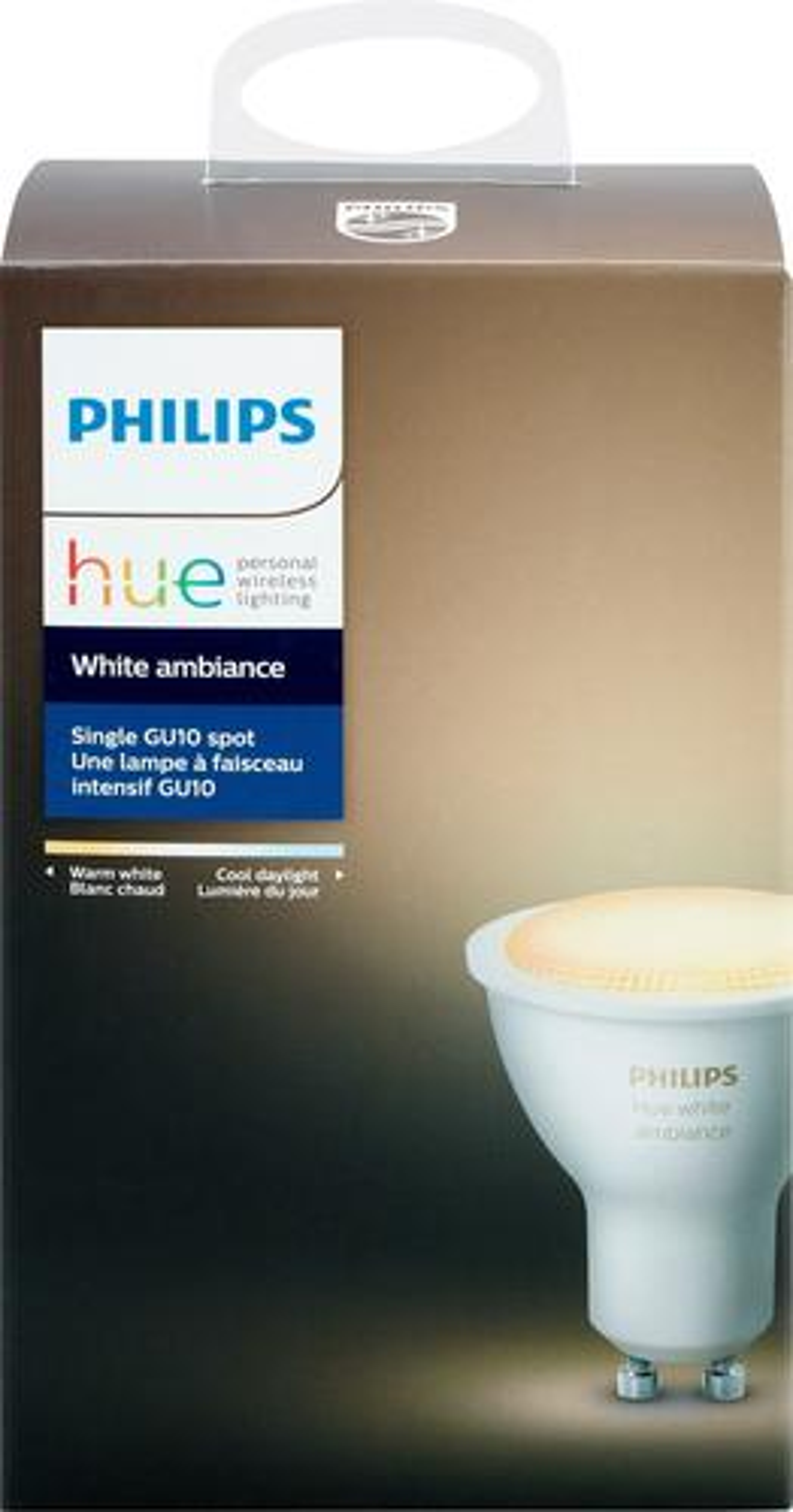 Philips - Hue White Ambiance GU10 Wi-Fi Smart LED Bulb - White