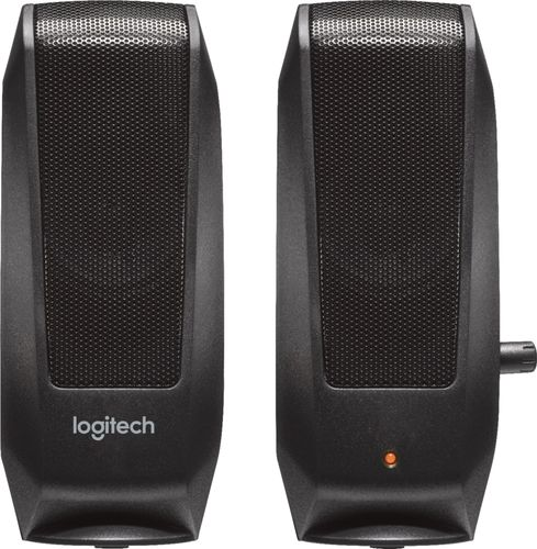 Logitech - Speakers (2-Piece) - Black Compatible with most audio devices with a 3.5mm output; 2.3W total power