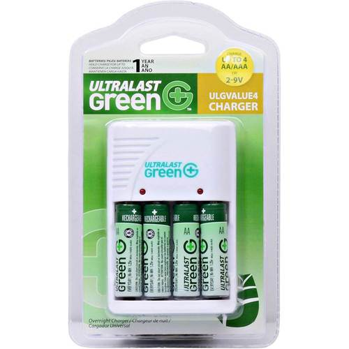 UltraLast Green - Standard AA/AAA Charger with 4 AA Batteries - White Compatible with most AA and AAA batteries; charges up to 4 batteries at the same time; foldable wall plug; includes 4 AA 1800mAh Ni-MH batteries