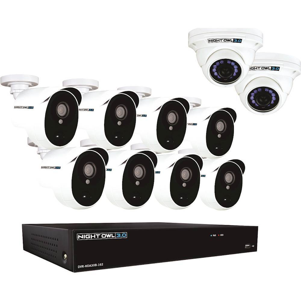 Night Owl 16-Channel 10-Cameras Indoor/Outdoor Wired 3MP 2TB DVR Security System CL-HDA30-161022P-B