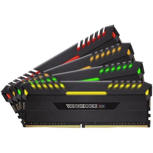 CORSAIR - VENGEANCE RGB Series 32GB (4PK 8GB) 3.2GHz DDR4 Desktop Memory with RGB Lighting - Black