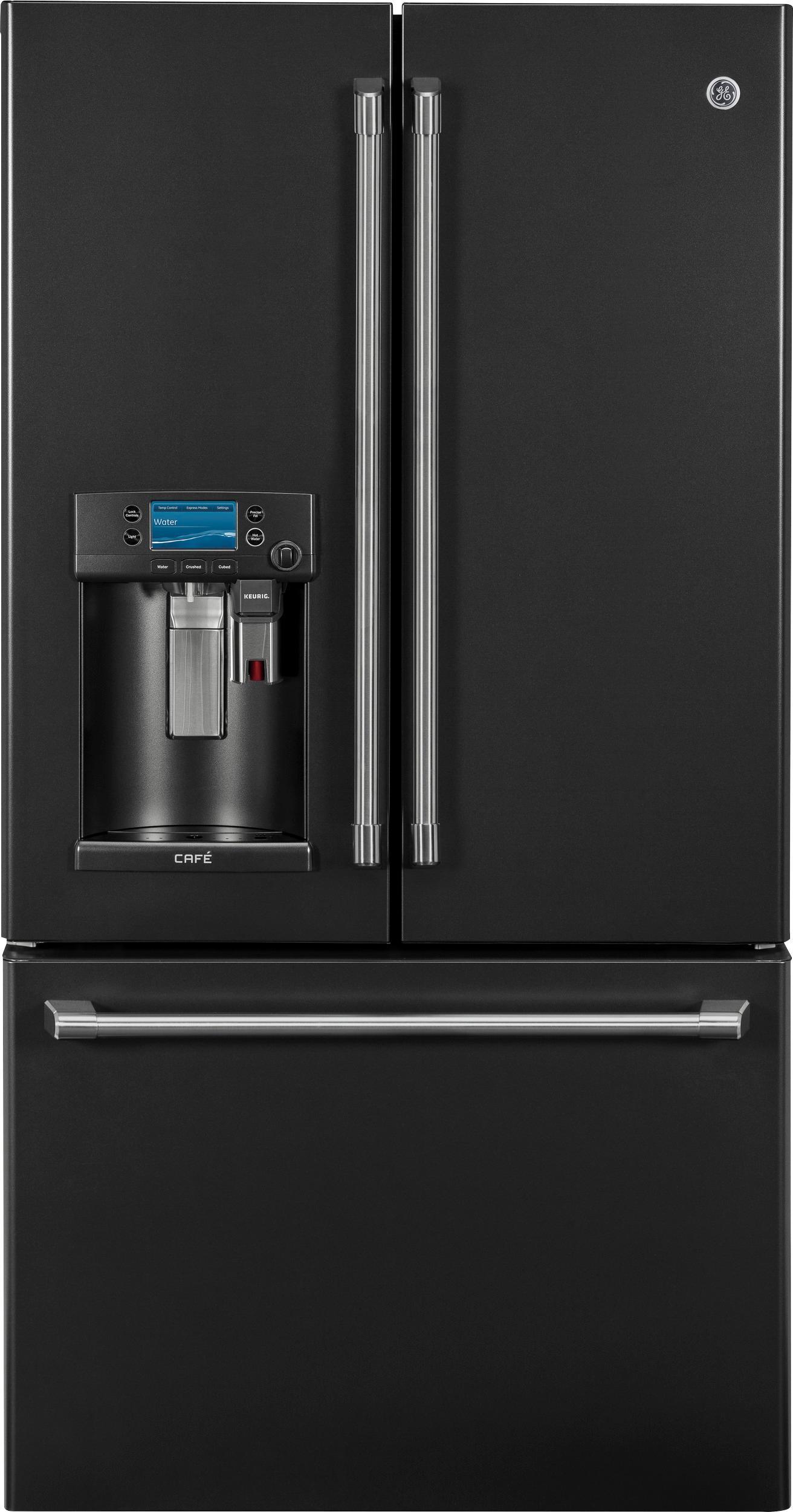 GE - Café Series 22.2 Cu. Ft. French Door Counter-Depth Refrigerator with Keurig Brewing System - Black Slate largeFrontImage