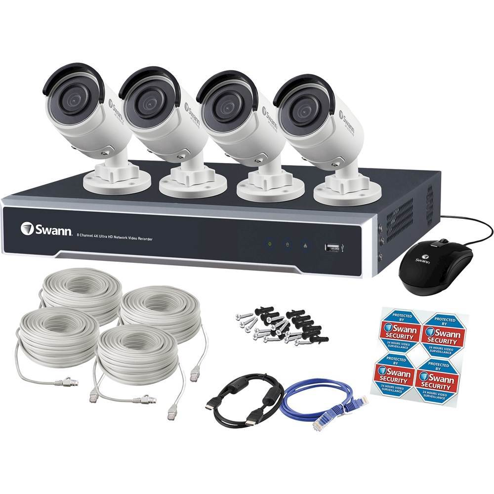 Swann 8-Channel, 4-Camera Indoor/Outdoor Wired 4TB DVR Surveillance System Gray/white SWNVK-880004-US