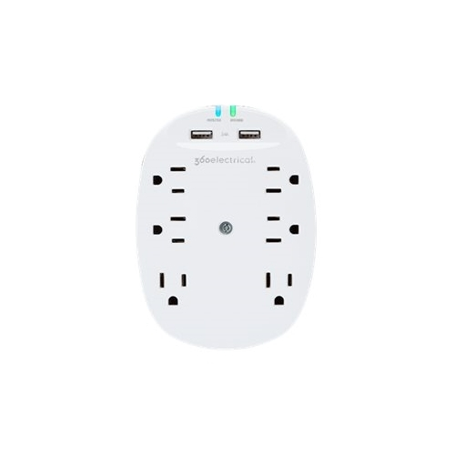 Image of 360 Electrical - 6-Outlet/2-USB Surge Protector - White
