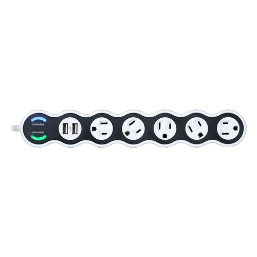 Image of 360 Electrical - PowerCurve 5-Outlet/2-USB Surge Protector Strip - White
