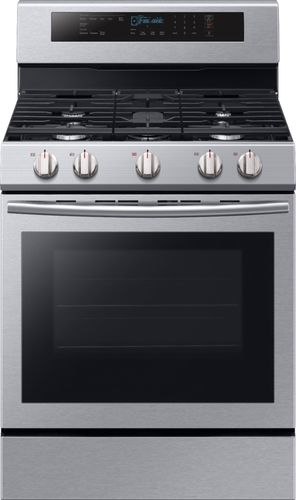 Samsung 30 in. 5.8 cu. ft. Single Oven Door Gas Range with Illuminated Knobs with True Convection Oven in Stainless Steel