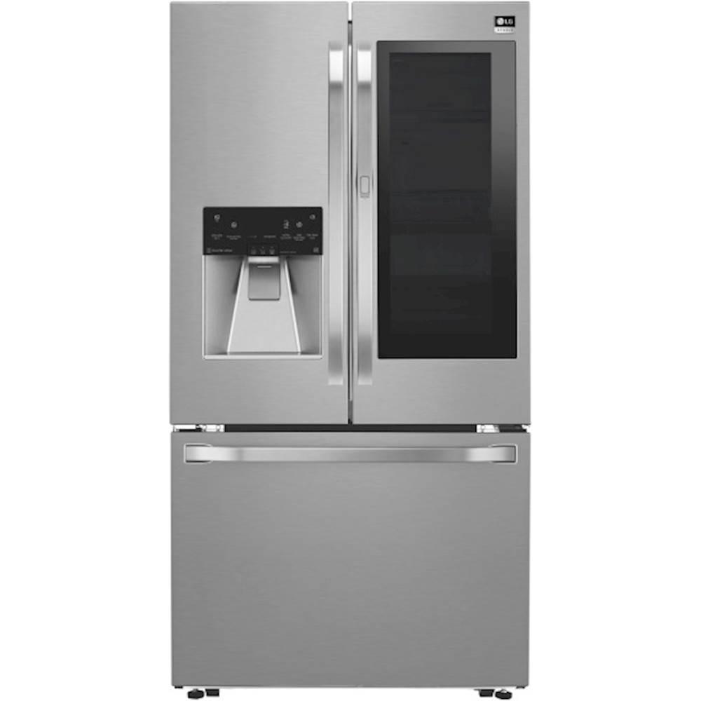 LG - Door-in-Door® 23.5 Cu. Ft. French Door Counter-Depth Refrigerator with Water and Ice Dispenser - Black stainless steel largeFrontImage