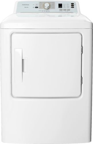 Insignia™ - 6.7 Cu. Ft. 10-Cycle Gas Dryer - White LED display; 10 options; front loading type