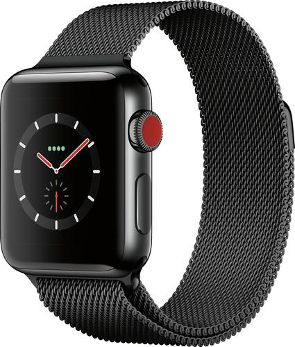 Apple - Apple Watch Series 3 (GPS + Cellular), 38mm Space Black Stainless Steel Case with Space Black Milanese Loop - Space Black Stainless Steel (Unlocked)