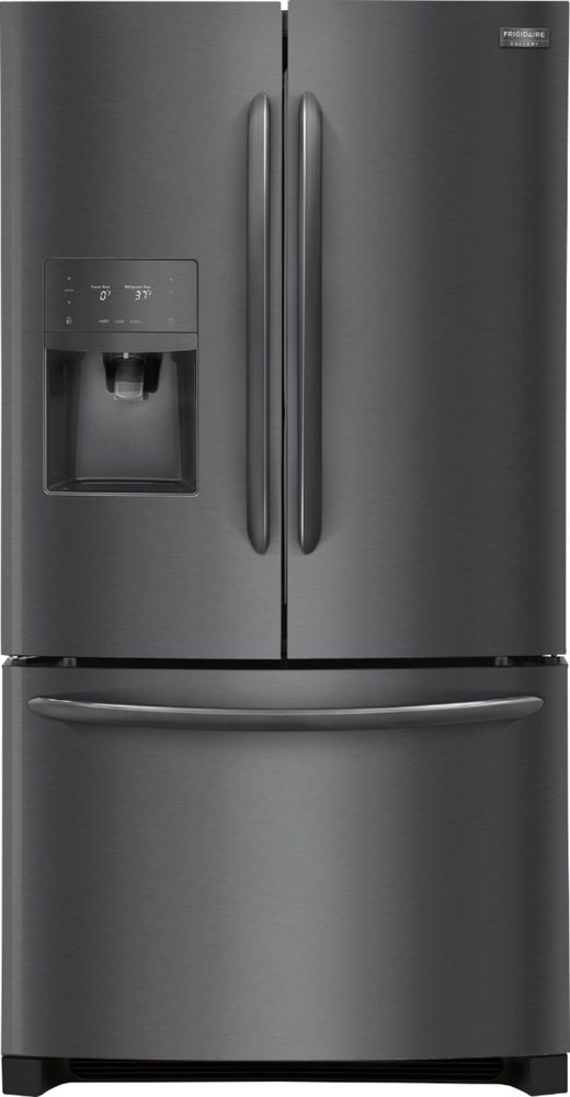 Frigidaire - Gallery 21.7 Cu. Ft. French Door Refrigerator - Black stainless steel largeFrontImage