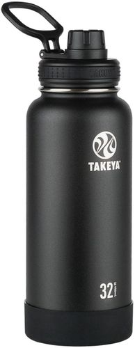 Takeya - Actives 32-Oz. Insulated Stainless Steel Water Bottle with Spout Lid - Onyx