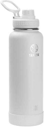 Takeya 40oz Actives Insulated Stainless Steel Water Bottle with Spout Lid - White