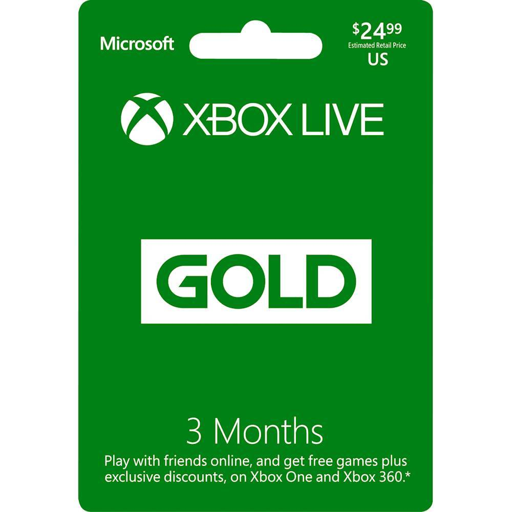 Microsoft Xbox Live 3 Month Gold Membership XBOX 3 MONTH 2017 FOS $24.99