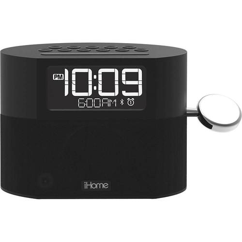 iHome - FM Dual-Alarm Clock Radio with Apple Watch Charger - Gray Bluetooth interface; FM digital tuner; integrated Apple Watch charger; speakerphone function; large display; snooze function; battery backup; USB port; Aux input