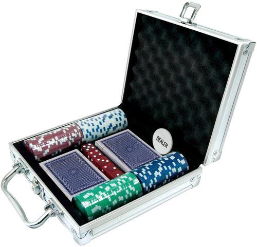 Samsonico USA - Deluxe Travel Poker Set - Silver 6002216