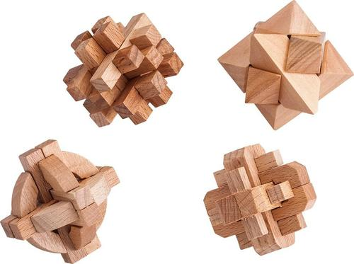 Samsonico USA - Wooden Puzzles (Set of 4) - Brown