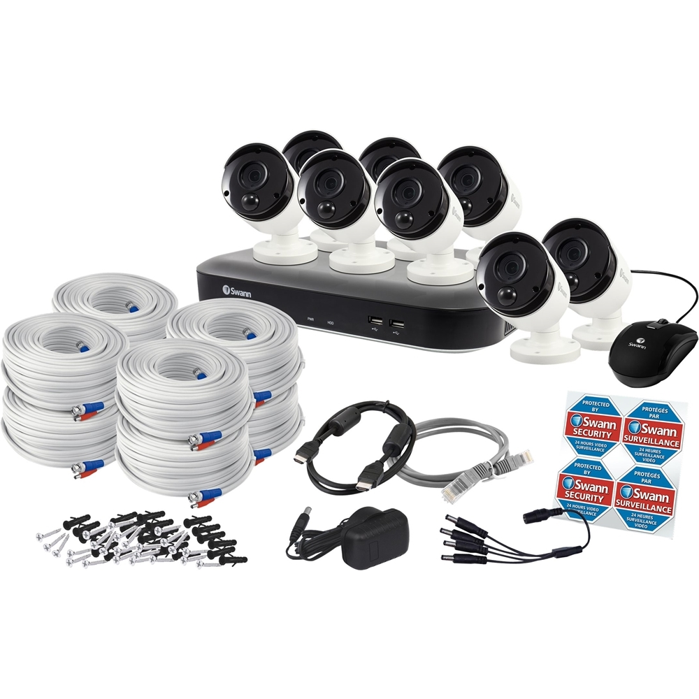 Swann SWDVK-849808-US PRO SERIES HD 8-Channel, 8-Camera Indoor/Outdoor Wired 2TB DVR Surveillance System Black/gray/white