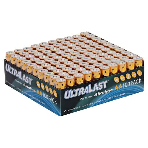 UltraLast - AA Batteries (100-Pack) Alkaline chemistry; 1.5V; advanced longer lasting technology