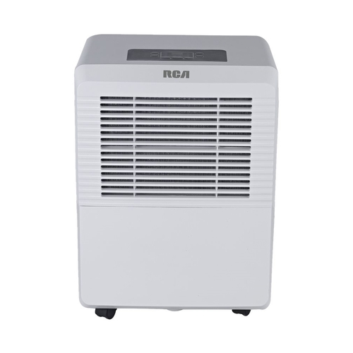 RCA - 50-Pint Portable Dehumidifier - Gray/White 6.3-gal. water tank; casters included