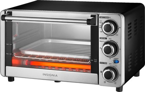 Insignia™ - 4-Slice Toaster Oven - Stainless Steel Bake, toast and broil functions; nonstick interior; integrated timer