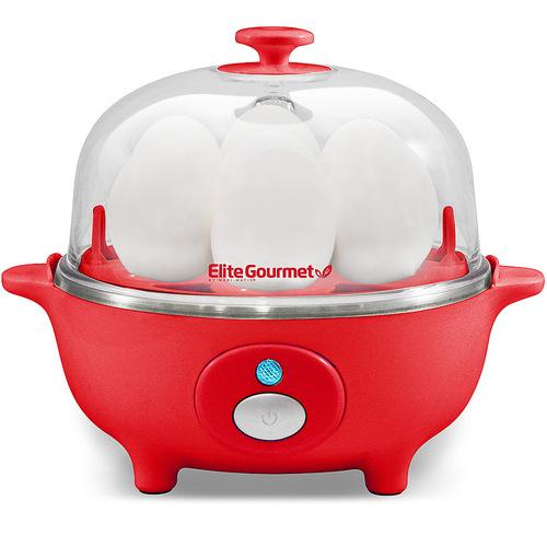 Elite Cuisine - 7-Egg Automatic Egg Cooker - Red 6043308