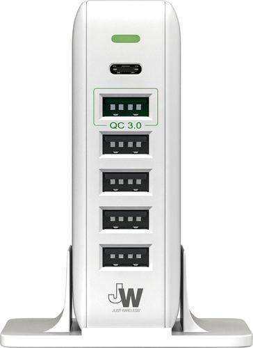 Just Wireless - 6-Port USB Hub - White 6054000