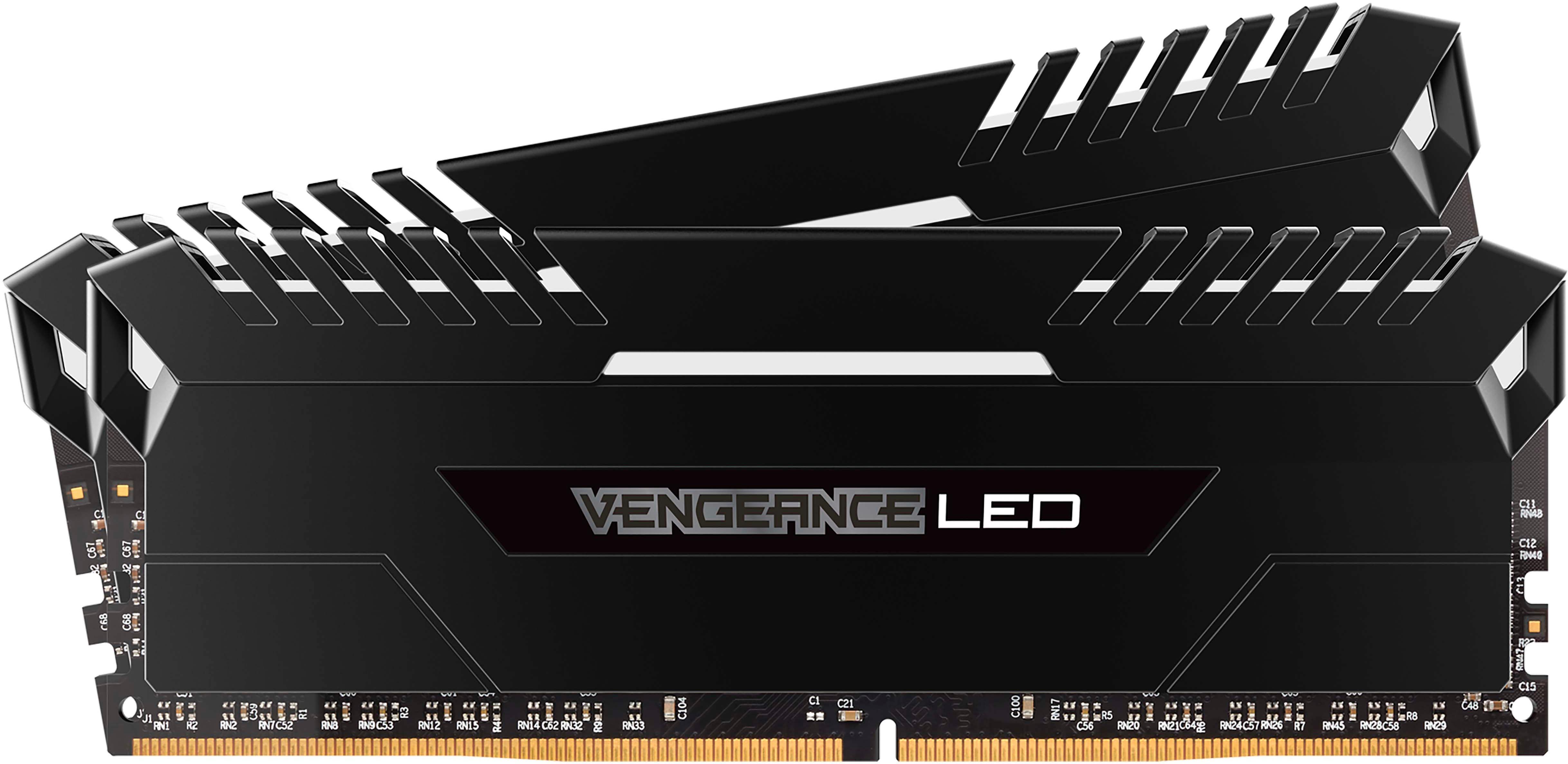 CORSAIR VENGEANCE LED Series 32GB (2PK 16GB) 3.0GHz DDR4 Desktop Memory with LED Lighting Black CMU32GX4M2C3000C15
