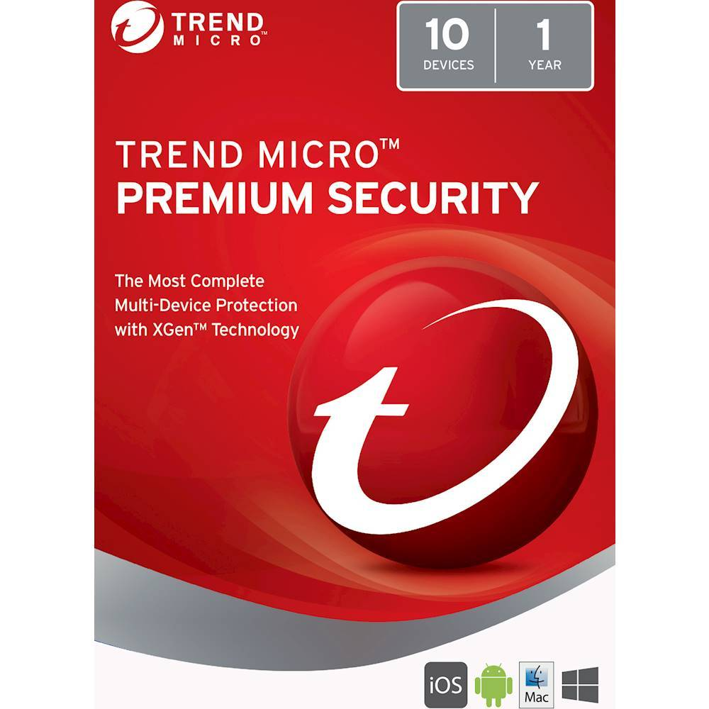 Trend Micro Premium Security (10-Devices) (1-Year Subscription) Android|Mac|Windows|iOS TRE021800G403