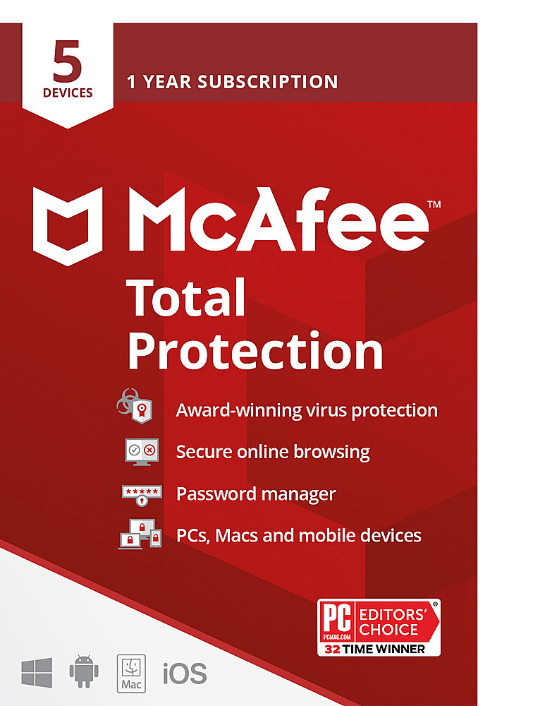 McAfee Total Protection (5 Devices) (1-Year Subscription) Android|Mac|Windows|iOS MTP00EBB5RAA